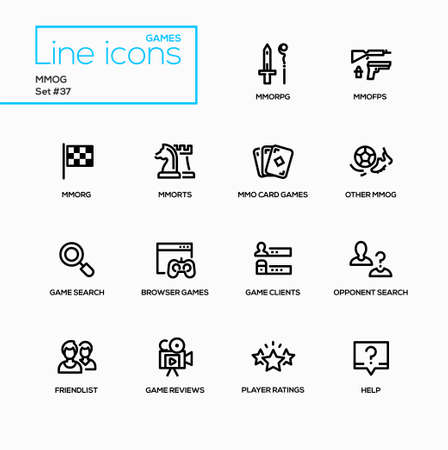 MMOG - modern vector single line icons set