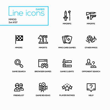 MMOG - modern vector single line icons set