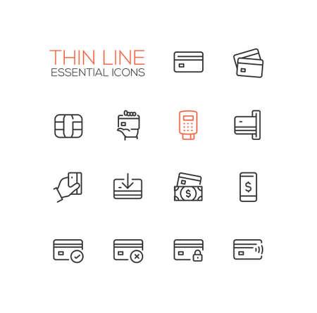 Finance - modern vector single thin line icons set