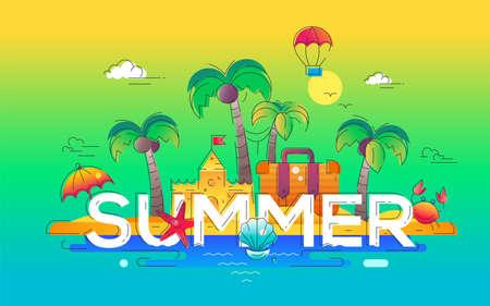 여름 - 벡터 라인 여행 그림