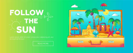 Follow the Sun - vector line travel banner Ilustração