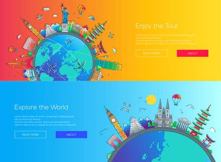 Flat design web page travel banners set Illustration