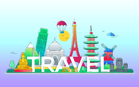 Travel - vector line travel illustration