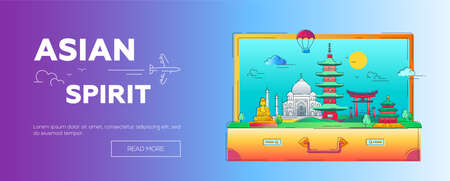 Asian Spirit - vector line travel web page header illustration