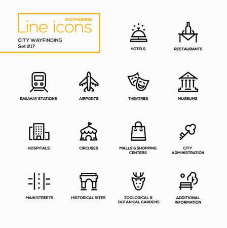 City Wayfinding - modern vector single line icons set