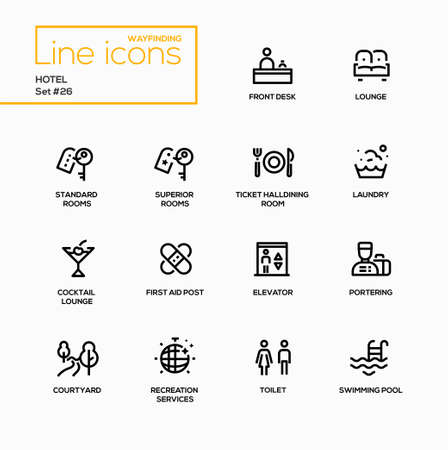 Hotel - modern vector single line icons set Ilustrace