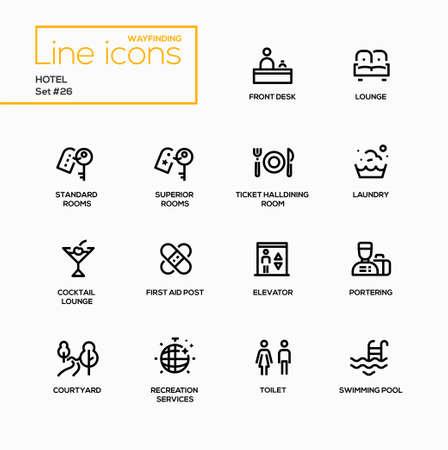 Hotel - moderne vector enkele lijn iconen set