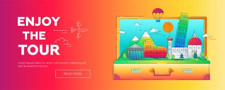 Geniet van de Tour - vector lijn reis webpagina koptekst illustratie Stock Illustratie