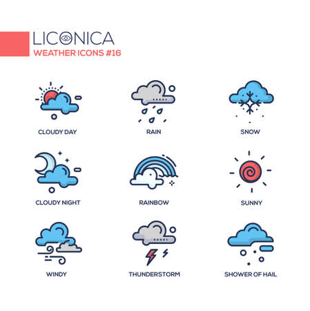 Weather - coloured modern single line icons set