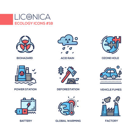 Ecology - coloured modern single line icons set