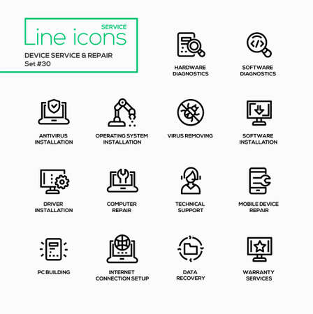 removing: Device service repair - modern vector single line icons set