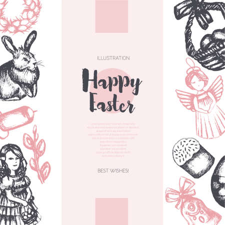 Happy Easter - color hand drawn square template card. Иллюстрация
