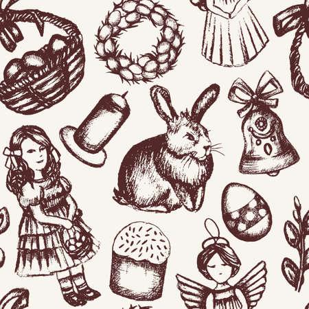 Happy Easter - monochromatic hand drawn seamless pattern