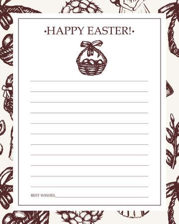 Happy Easter - monochromatic hand drawn template card. Çizim