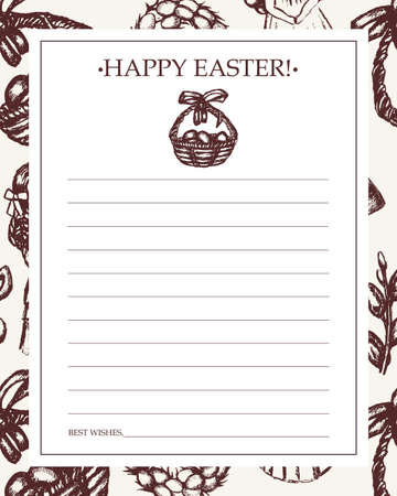Happy Easter - monochromatic hand drawn template card. Illustration
