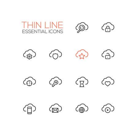 Clouds with Symbols - modern vector single thin line icons set