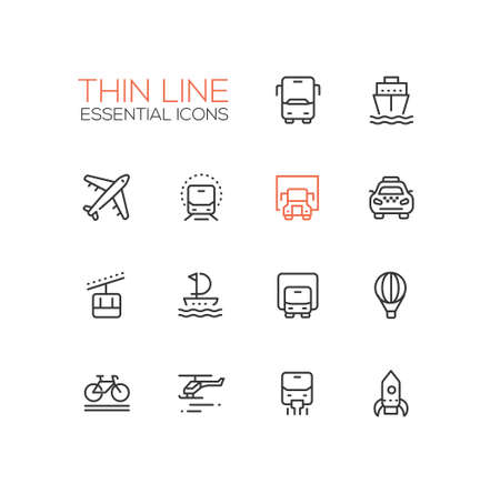 Transport - modern vector single thin line icons set
