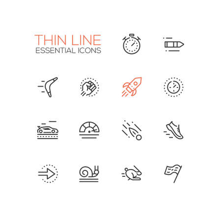 Speed - modern vector single thin line icons set Ilustrace