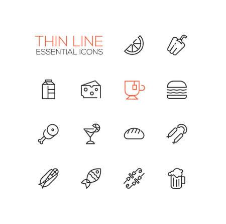 Arten von Food Line Icons Set Standard-Bild - 77613012