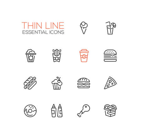 Fast Food Cafe Menu Icons Set Illustration
