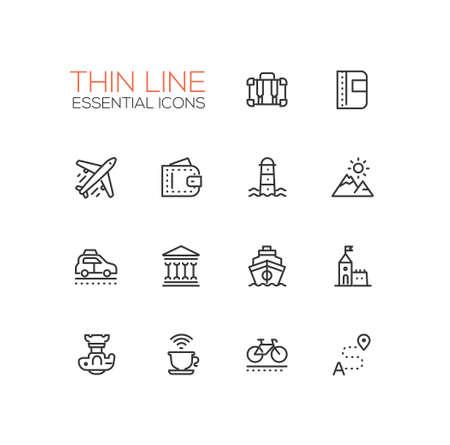 overnight: Traveling - line icons set Illustration