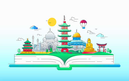 아시아 정신 - 벡터 라인 여행 그림