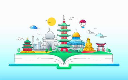 Aziatische geest - vector lijn reizen illustratie