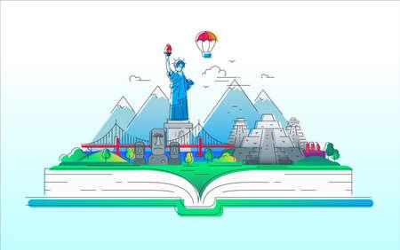 Amerika - vector lijn reis illustratie