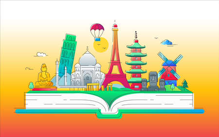 World tour- vector line travel illustration Illustration