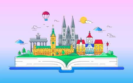 유럽 - 벡터 라인 여행 그림 일러스트