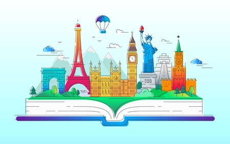 Around the world - vector line travel illustration Фото со стока - 77908569