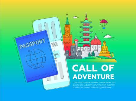 Aufruf des Abenteuers - moderne Vektorlinie Reiseillustration. Entdecke die Welt. Machen Sie eine Reise, genießen Sie Ihren Urlaub. Standard-Bild - 77832022