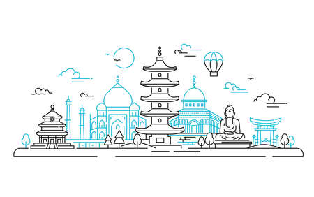 아시아 국가 - 벡터 라인 여행 그림