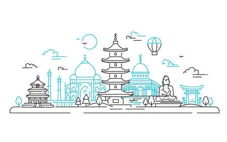 Aziatische landen - vector lijn reizen illustratie Stock Illustratie