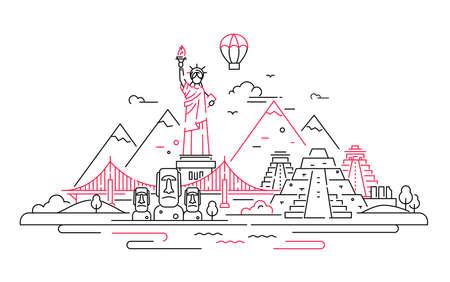 America - vector line travel illustration Ilustração