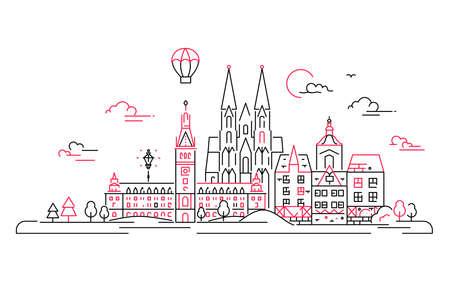 European countries - vector line travel illustration