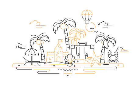 At the Seaside - vector line travel illustration