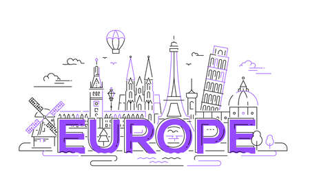 Europe - vector illustration of flat design composition with world famous landmarks icons Çizim