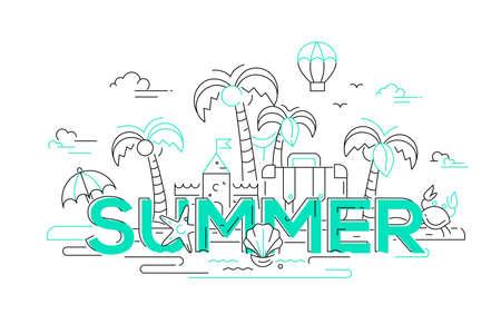 Zomer - moderne vector lijn reizen illustratie. Ontdek het eilandparadijs. Heb een reis, geniet van uw vakantie. Wees op een veilige en opwindende reis. Bouw zandkastelen en zwem in de oceaan, leun achterover en rust.