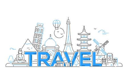 Reizen - moderne vector lijn ontwerp illustratie. India, Japan, Frankrijk, Italië, Nederland. Wees op een veilige en opwindende reis. Zie geweldige bezienswaardigheden zoals de Eiffeltoren, de toren van Pisa, het Boeddha-monument, Torii, windmolen, Taj Mahal Stockfoto - 78100289