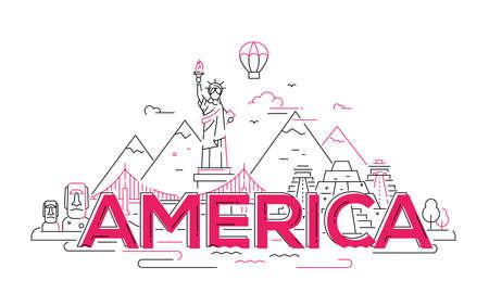 미국 - 현대 벡터 라인 여행 그림입니다. 새로운 세계 대륙을 발견하십시오. 여행을 떠나서 휴가를 즐기십시오. 여행을 떠나지 마십시오. 자유의 깃발,
