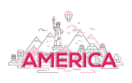 America - modern vector line travel illustration. Discover the New World continent. Have a trip, enjoy your vacation. Be on a journey. See landmarks like stature of liberty, Brooklyn bridge, Mayan temple Illustration