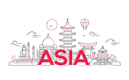 Asia - modern vector line travel illustration. Discover India, Japan, Israel. Have a trip, enjoy your vacation. Be on a journey. See landmarks like buddha , torii, mosque, Taj mahal