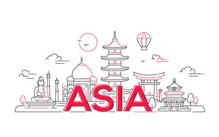 Azië - moderne vector lijn reizen illustratie. Ontdek India, Japan, Israël. Heb een reis, geniet van uw vakantie. Ga op reis. Zie bezienswaardigheden zoals Boeddha, Torii, moskee, Taj Mahal