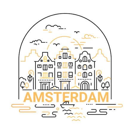 암스테르담 - 현대 벡터 라인 여행 그림입니다. 여행을 떠나서 휴가를 즐기십시오. 안전하고 흥미로운 여행을하십시오. 랜드 마크 이미지. 도시, 건물,  일러스트