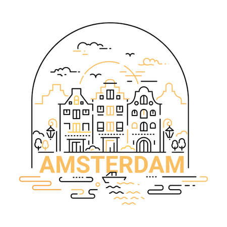 Amsterdam - modern vector line travel illustration. Have a trip, enjoy your vacation. Be on a safe and exciting journey. Landmark image. An unusual composition with a city, building, river, boat, sunset, bird, cloud, lamp in the sky background Illustration