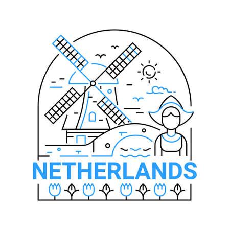 네덜란드 - 현대 벡터 라인 여행 그림입니다. 여행을 떠나서 휴가를 즐기십시오. 안전하고 흥미로운 여행을하십시오. 랜드 마크 이미지. 소녀, 풍차, 하