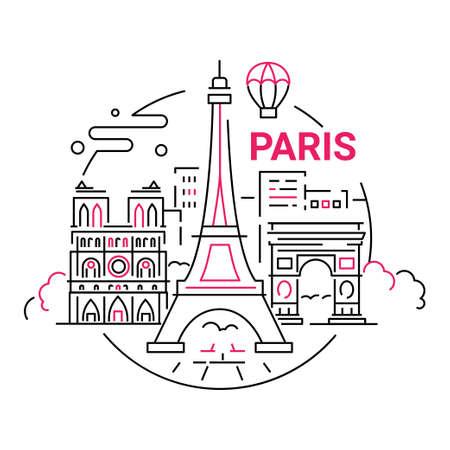 프랑스 - 현대 벡터 라인 여행 그림입니다. 여행을 떠나서 프랑스 휴가를 즐기십시오. 랜드 마크 이미지. 에펠 탑, 노트르담, 아크 드 triumphal, 나무, 도