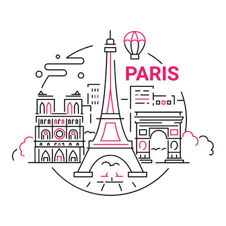 France - modern vector line travel illustration. Have a trip, enjoy your French vacation. Landmark image. An unusual composition with the Eiffel tower, Notre dame, arc de triumphal, tree, city, cloud, balloon in the sky background