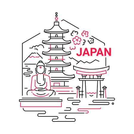 Japan - moderne vector lijn reizen illustratie. Heb een reis, geniet van je Japanse vakantie. Wees op een veilige en opwindende reis. Landmark-afbeelding. Een ongewone samenstelling met Boeddha, tempel, berg, zee, bloem, torii op de hemelachtergrond Stock Illustratie